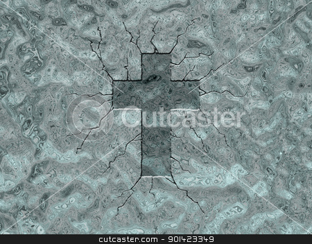 ice cross stock photo, christian cross - relief in ice background - 3d illustration by J?
