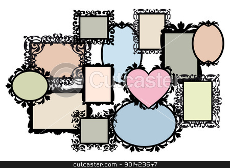 blank picture frame set, vector stock vector clipart, blank multiple picture frame set, vector design element by Beata Kraus