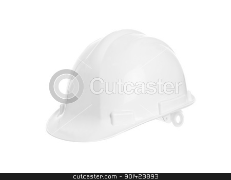 White Hard hat stock photo,  Hard Hat isolated on white background by Anne-Louise Quarfoth