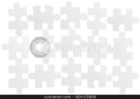 Puzzle pieces stock photo, Puzzle pieces isolated on white background by Anne-Louise Quarfoth