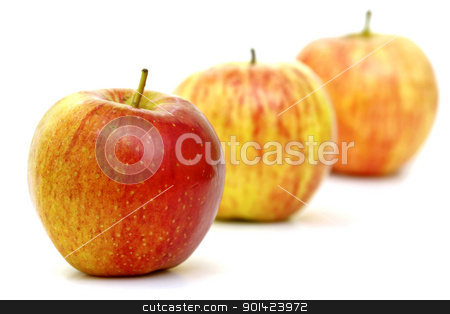 Apples stock photo, Three beautiful, mature yellow,red striped apple by ARPAD RADOCZY