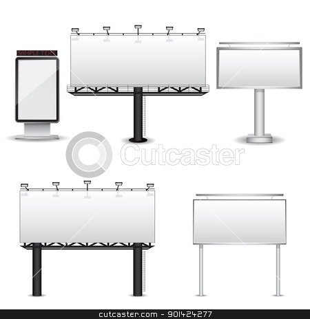 Vector billboards  stock vector clipart, Set of different billboards isolated on white background. Vector illustration by Vladimir Gladcov
