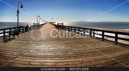 Ventura Pier stock photo, The Ventura Pier with Santa Cruz Island in the background. by Henrik Lehnerer