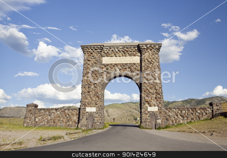 Roosevelt Arch stock photo, Roosevelt Arch is the north entrance to Yellowstone National Park by Bryan Mullennix
