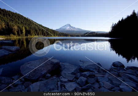 Mount Hood and Trillium Lake stock photo, Mount Hood and Trillium Lake in the Mount Hood National Forest by Bryan Mullennix