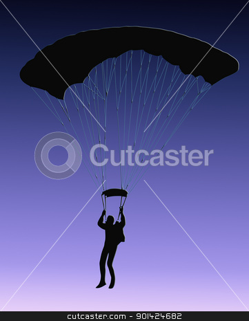 Blue Back Sky Diver with parachute stock photo, Blue Background Silhouette of sky diver with open parachute by Snap2Art