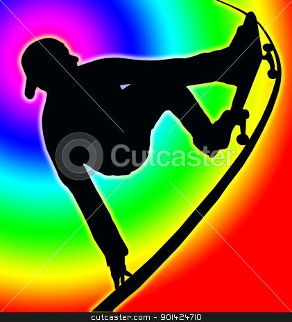 Color Circle Back Skateboarding Vert Ramp Grab stock photo, Color Circle Background Skateboarding Skater do Grab Turn on Vert Ramp by Snap2Art