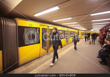 Berlin metro stock photo, BERLIN - JANUARY 18: Passengers waiting u-bahn on January 18, 2011 in Berlin, Germany. Nearly 1 million passengers use the metro daily. by Paul Prescott
