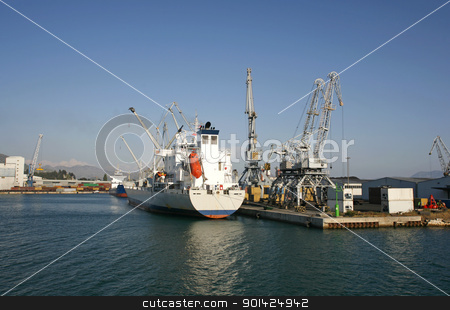 boat stock photo, boat unloading at ploce harbour in croatia by Paul Prescott