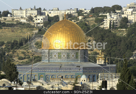 golden dome mosque stock photo, golden dome mosque in jerusalem by Paul Prescott