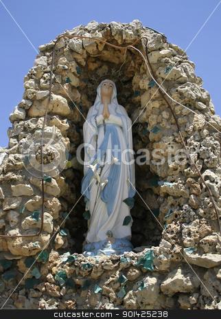 mary stock photo, praying statue of mary, mother of jesus, king david wells, bethlehem, west bank, palestine, israel by Paul Prescott