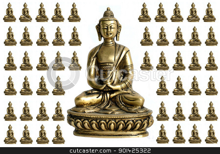 Central Buddha stock photo, Central Buddha with surrounding miniatures by Paul Prescott