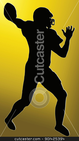 Golden Back Sport Silhouette - American Football stock photo, Golden Back Silhouette - American Football player throws pass  by Snap2Art