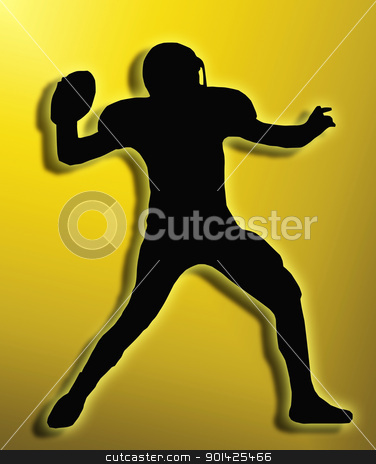Golden Back Silhouette American Football Quarterback Throw stock photo, Golden Back Silhouette American Football Quarterback Aiming to Throw Ball by Snap2Art