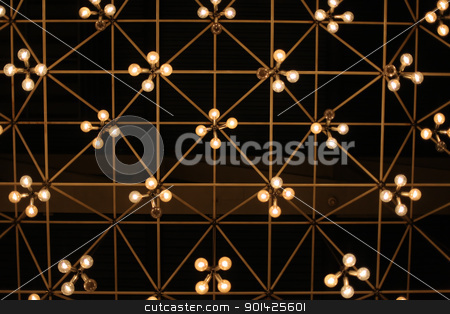 light structure backgroud stock photo, Light bulb structure on ceiling interior by Paul Prescott