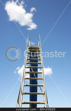 ladder to the sky stock photo, Steps leading to a blue sky with clouds by Paul Prescott