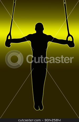 Green Gold Back Sport Silhouette - Gymnast on Rings stock photo, Green Gold Back Sport Silhouette Gymnast on rings  by Snap2Art