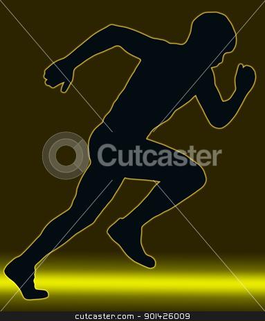 Green Gold Glow Sport Silhouette - Male Sprint Athlete stock photo, Green Gold Glow Sport Silhouette Male Sprint Athlete   by Snap2Art