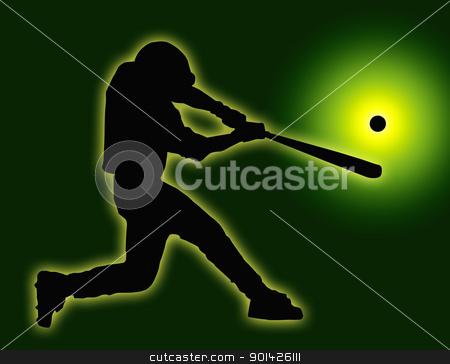Green Back Baseball Batter Hitting Ball stock photo, Green Back Baseball Batter Hitting Ball with Bat for Home Run by Snap2Art