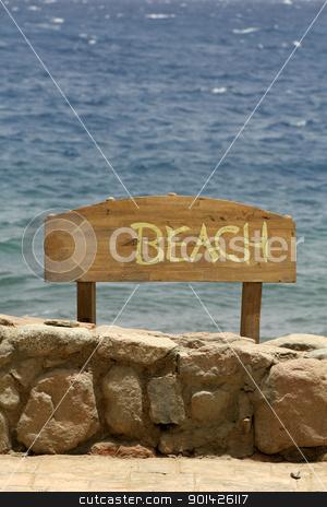 beach sign, stock photo, beach sign, red sea beach resort, sinai, egypt by Paul Prescott
