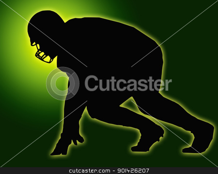 Green Glow Silhouette American Football Player Scrimmage stock photo, Green Glow Silhouette American Football Player Scrimmage by Snap2Art