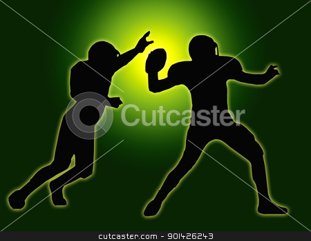 Green Glow Silhouette American Football Quarterback and Defender stock photo, Green Glow Silhouette American Football Quarterback Throw by Snap2Art