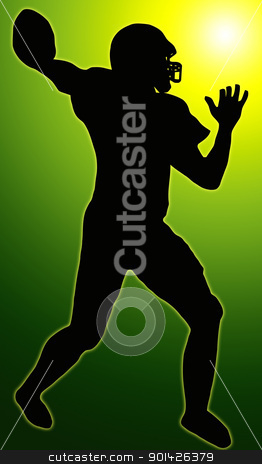 Green Glow Sport Silhouette - American Football stock photo, Green Glow Sport Silhouette - American Football player making ready to throw pass  by Snap2Art
