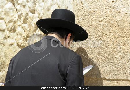 Hasidic jew at the wailing western stock photo, Hasidic jew at the wailing western wall, jerusalem, israel by Paul Prescott