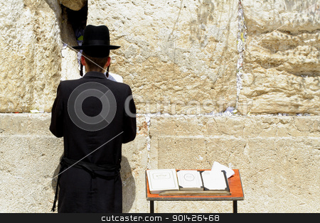 Hasidic jews at the wailing western stock photo, Hasidic jew at the wailing western wall, jerusalem, israel by Paul Prescott