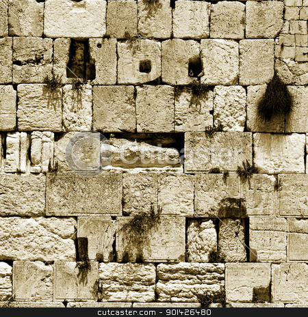 wailing western wall stock photo, sepia cut out of the wailing western wall, jerusalem, israel by Paul Prescott
