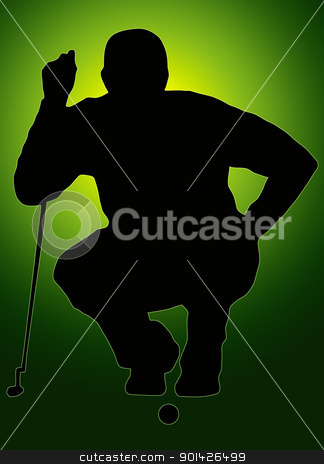Green Back Sport Silhouette Golfer Sizing put up stock photo, Green Back Glow Ball Sport Silhouette Golfer Sizing put up  by Snap2Art