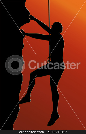 Sunset Back Abseiling Man stock photo, Sunset Back Isolated Image of a Male Abseiler Climbing a Rock Face by Snap2Art