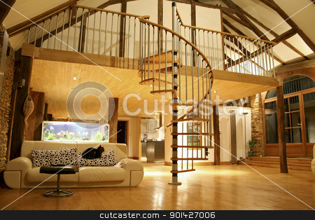 cozy house stock photo, Open space living room and second floor mezzanine in cozy house by Paul Prescott