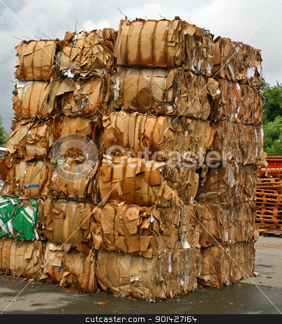paper stack stock photo, stack of paper waste before shredding at recycling plant in Germany by Paul Prescott