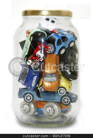Traffic Jam stock photo, Traffic Jammed in transparent jar with lid isolated on white background by Paul Prescott