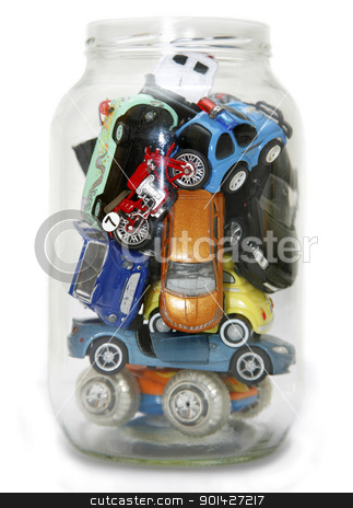 Traffic Jam stock photo, Traffic Jammed in transparent jar isolated on white background by Paul Prescott