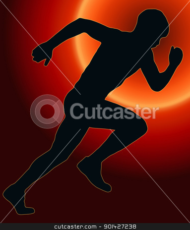 Sunset Back Sport Silhouette - Male Sprint Athlete stock photo, Sunset Back Sport Silhouette Male Sprint Athlete  by Snap2Art