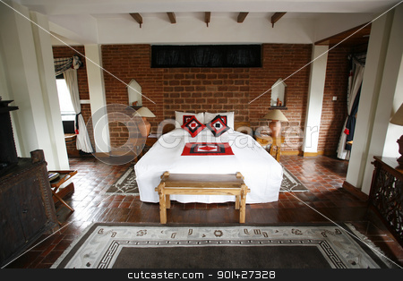 Terracotta bedroom stock photo, Double bed in beautiful hotel in Kathmandu in Nepal by Paul Prescott