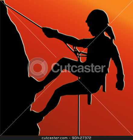 Sunset Back Abseiling Lady stock photo, Sunset Back Isolated Image of a Female Abseiler Climbing a Rock Face by Snap2Art