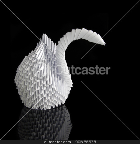 Origami swan stock photo, White paper origami swan on black background by sutike