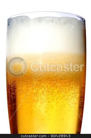 Glass of beer close-up with froth stock photo, Glass of beer close-up with froth over white background by sutike