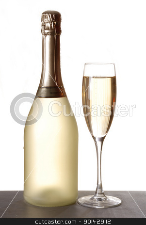 Glass of champagne stock photo, Glass of champagne against whitebackground by sutike