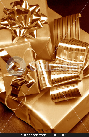 Three gift boxes stock photo, Three gift boxes by sutike