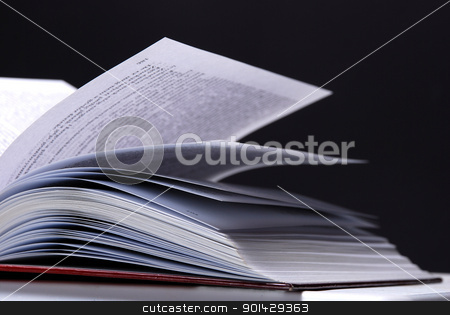 Open book stock photo, Open book on dark background by sutike