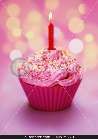 Pink birthday cupcake  stock photo, Pink birthday cupcake with a candle by sutike