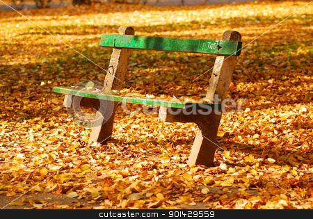 Autumn stock photo, a green bench at the park by sutike