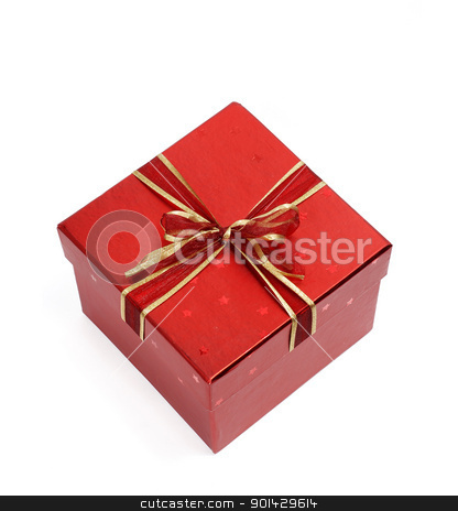 red gift box stock photo, red gift box isolated on white background by sutike