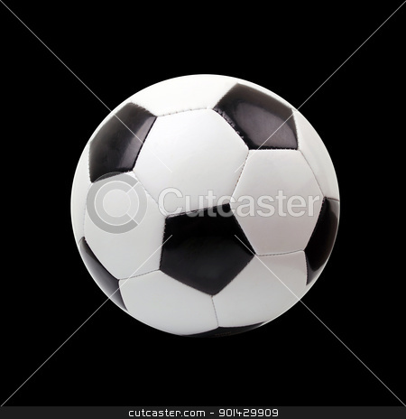 soccer ball  stock photo, soccer ball against black background  by sutike