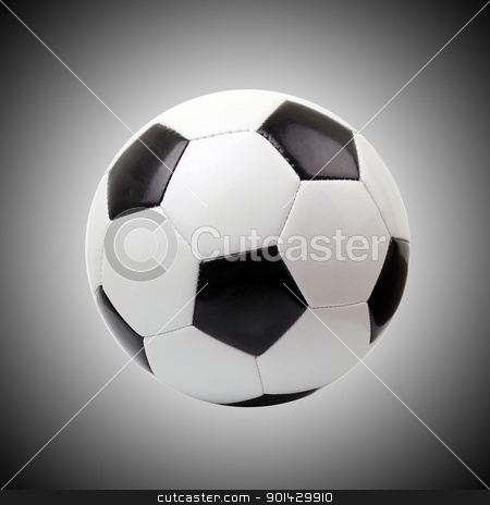 soccer ball  stock photo, soccer ball against gray background  by sutike