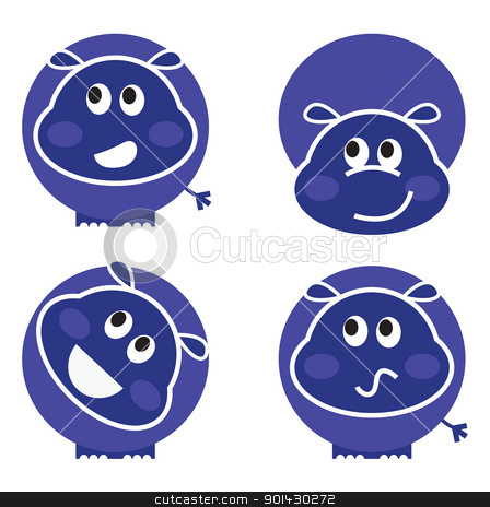Cute wild hippo set in various poses isolated on white stock vector clipart, Set of hippopotamus icons isolated on white. Vector cartoon  by BEEANDGLOW
